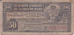 BILLETE DEL BANCO ESPAÑOL EN CUBA DE 50 CENTAVOS DEL AÑO 1896 (BANKNOTE) - [ 1] …-1931 : First Banknotes (Banco De España)