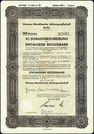 WW2 - III Reich 4% Schuldverschreibung Dürener Metallwerke AG 1943  III Reich 4% Stock Bond Duraluminium Factory - Industrie