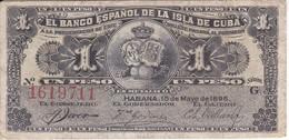 BILLETE DEL BANCO ESPAÑOL EN CUBA DE 1 PESO DEL AÑO 1896 (BANKNOTE) - [ 1] …-1931 : First Banknotes (Banco De España)