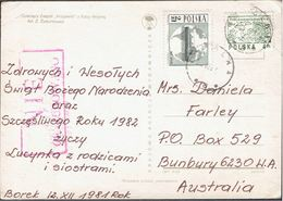 POLAND 1981 SOLIDARITY SOLIDARNOSC PERIOD MARTIAL LAW NIE CENZUROWANO NOT CENSORED MAUVE CACHET POLAND TO AUSTRALIA - 1944-.... Republik