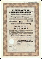 Germanys Bond 4½ % Reichs Elektrowerke Berlin AG Aktie 1000 RM 1937 / Nr 21657 / III Reich Bond Stock Certificate - Electricité & Gaz