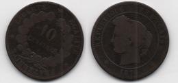 + FRANCE  + 10 CENTIMES  1874 A + - D. 10 Centimes