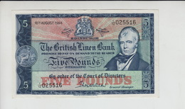 AB480 The British Linen Bank £5 Note 18th August 1964 #I/12 025516. Free UK P+p! - 5 Pounds