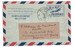1956 - PHILIPPINES (PILIPINAS) AEROGRAMME AIR MAIL LETTER De MANILA 50 Centavos Pour LA BELGIQUE BELGIUM BRUXELLES - Filipinas