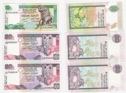 Sri Lanka  10 Rp. 2005 UNC, 20 Rupees 2005  UNC, 20 Rupees 2006 UNC - Sri Lanka