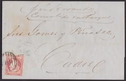 1856. GIBRALTAR A CÁDIZ. 4 CUARTOS ROJO. SIN FILIGRANA. MAT. PARRILLA. RARÍSIMA ANOTACIÓN. CARTA COMPLETA. - Gibraltar