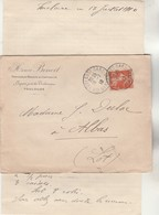 Yvert 138 Semeuse Lettre Entête Henri Benoit Cachet Manuel TOULOUSE GARE Haute Garonne 18/7/1910 à Albas Lot - Marcophilie (Lettres)