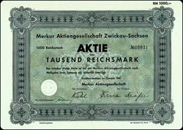 """WW2 - Germany Ephemera - """"Merkur"""" AG Zwickau - Sachsen 1000 RM Aktie 1941 - Sonstige"""