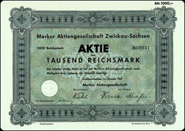 "WW2 - Germany Ephemera - ""Merkur"" AG Zwickau - Sachsen 1000 RM Aktie 1941 - Actions & Titres"