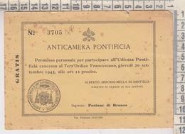 VATICANO SAN PIETRO ANTICAMERA PONTIFICIA PERMESSO UDIENZA TERZ'ORDINE FRANCESCANO 1945 - Vaticano (Ciudad Del)