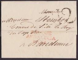 1818. CONSULAR MAIL. GIBRALTAR A BARCELONA. MARCA S.ROQUE/ANDALUCIA/BAXA. PORTEO B.12 CUARTOS. INTERESANTE Y RARO. - Gibraltar