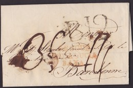 1817. CONSULAR MAIL. GIBRALTAR A BARCELONA. MARCA S.ROQUE/ANDALUCIA/BAXA. PORTEO B.12 CUARTOS. MUY RARO E INUSUAL. - Gibraltar