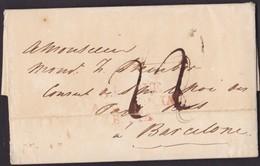 1819. CONSULAR MAIL. GIBRALTAR A BARCELONA. MARCA S.ROQUE/ANDALUCIA/BAXA. PORTEO MNS. 22 CUARTOS. DESINFECTADO.MUY RARO. - Gibraltar