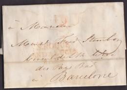 1820. CONSULAR MAIL. GIBRALTAR A BARCELONA. MARCA S.ROQUE/ANDALUCIA/BAXA. PORTEO B.12 CUARTOS. DESINFECTADA. MUY RARA. - Gibraltar