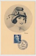 FRANCE - Carte Maximum - 25 F Gandon - Centenaire Du Timbre Poste - PARIS - 12 Juin 1949 - 1940-49