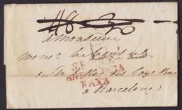 1816. CONSULAR MAIL. GIBRALTAR A BARCELONA. MARCA S.ROQUE/ANDALUCIA/BAXA. PORTEO B.12 CUARTOS. PORTEOS RECTIFICADOS. - Gibraltar