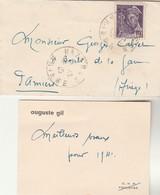 Yvert 413 Mercure Seul Sur Lettre Avec Carte De Visite Auguste Gil  EHP Toulouse Barré  Cachet MAZERES Ariège 31/12/1940 - Poststempel (Briefe)