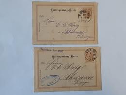 Lot De 2 Entiers Postaux De Wien Envoyés Vers Schweina - Thuringen .. Lot110 - Stamped Stationery