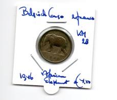 BELGISCH CONGO 2 FRANCS 1946 AFRICAN ELEPHANT - 1951-1960: Baudouin I