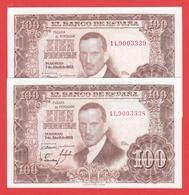 ESPAGNE - Paire De  Billets 100 Pesetas Du 07 04 1953 NEUF - Pick 145 - 100 Peseten
