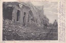 Alte Ansichtskarte Langhemarcq ( Langemark ) Straßenbild Nach Der Einnahme Im April 1915 - Langemark-Poelkapelle
