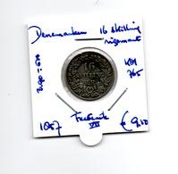 DENEMARKEN 16 SKILLING 1857 ZILVER FREDERIK VII - Denmark