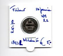FINLAND 50 PENNIA 1893L ZILVER NICHOLAS II - Finland