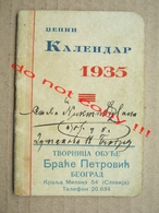 Pocket Calendar ( 1935 ) / Tvornica Obuće Braće Petrović, Beograd - King Peter II, Jewish Calendar, ... - Calendars