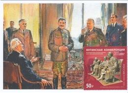 2822 Mih 2600 Russia 02 2020 Maximum Card 2 1945 Yalta Conference Stalin Roosevelt Churchill WW II World War II - 1992-.... Fédération