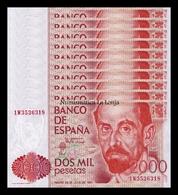 España Lot Bundle 10 Banknotes 2000 Pesetas J. Ramón Jiménez 1980 Pick 159 SC UNC - [ 4] 1975-…: Juan Carlos I.
