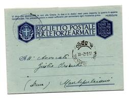 BIGLIETTO POSTALE PER LE FORZE ARMATE 1943 MAGGIORE MINISTERO DELLA GUERRA DI ROMA - 1900-44 Vittorio Emanuele III