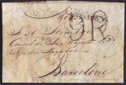 1816. CONSULAR MAIL. LIVORNO A BARCELONA. MARCA GENOVA Y PORTEO 9R REALES. ANOTACIÓN ENCAMINADOR. MUY INTERESANTE. - Italia
