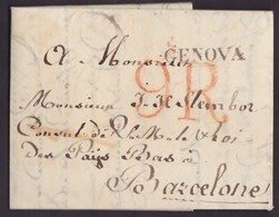 1819. CONSULAR MAIL. MARCA GENOVA TIPO PEQUEÑO. PORTEO 9R REALES. DISCRETAS MANCHAS VINAGRE. MUY INTERESANTE. - Italy
