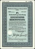 WW2 Socialist Germany 4% Mitteldeutsche Stahlwerke AG Riesa 1000 RM - XII 1941 - Industrie