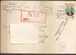 POLAND 1981 SOLIDARITY SOLIDARNOSC PERIOD MARTIAL LAW NIE CENZUROWANO NOT CENSORED MAUVE CACHET USA TO GORZOW WIELKOPOLS - 1944-.... Republik