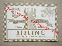 Yugoslavia, Serbia / RIZLING - Biserno Ostrvo Novi Bečej / Old Label ( 1961 ) - Riesling