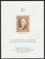 USA America First Stamp 1847 Reproduction UPU Congress Salon 1984 GERMANY Hamburg Philatelist Commemorative Sheet Block - 1847-99 Unionsausgaben