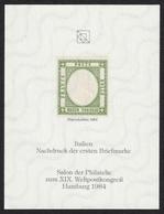 ITALY First Stamp 1861 KING Reproduction UPU Congress Salon 1984 GERMANY Hamburg Philatelist Commemorative Sheet Block - Non Classés