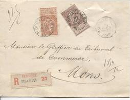 REF1232/ TP 57-61 FB S/L.Recommandée C.BXL 3 22 JUIN 19-20 1899 > Mons C.d'arrivée + Léon Lepage Avocat - 1893-1900 Fine Barbe