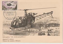 """Hélicoptère """"S.E - 3130 ALOUETTE II"""" Appareil 5 Places, Vitesse De Croisière 170 Km/h - Hélicoptères"""