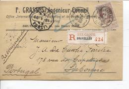 REF1234/ TP 77 GB S/CP Grasses Ingénieur - Conseil C.BXL 3/9 15 AVRIL 1-20 1908 > Portugal Lisbonne C.d'arrivée - 1905 Grosse Barbe