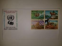 O) 2002 UNITED NATIONS - NEW YORK, ENDANGERED SPECIES . HOFFMANN'S - BIGHORN - CHEETAH - SAN ESTEBAN ISLAND CHUCKWALLA, - FDC