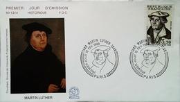 FRANCE - FDC - 1983 - MARTIN LUTHER (Oblitération PARIS)  Enveloppe Premier Jour - Theologians