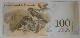 Venezuela - 100000 Bolivares Fuertes - 13/12/2017 - Serie C - UNC - With Birds / Vogels / Oiseaux / Simon Bolivar - Venezuela