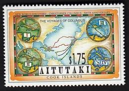 Aitutaki 1992 / 500th Anniversary Of The Discovery Of America By Columbus, Map / MNH, Mi 703 - Cristoforo Colombo