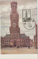 Carte Maximum BELGIQUE  N°Yvert 519 (BRUGES - Le Beffroi) Obl 1939 - Maximumkarten (MC)