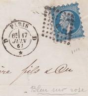 N°14A Piquage Susse Sur Lettre Du 17 Juin 1861, Nuance Annoncée Sur Rose (non Comptée), TB. Beaucoup Plus Rare Sur 14 A - 1853-1860 Napoléon III.