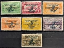 """PHILIPPINES 1932 - MLH - Sc# C29-C35 - Complete Set! - Air Mail """"Round The World Flight Von Gronau"""" - Filipinas"""
