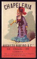 Cartão Publicidade Loja CHAPELARIA AUGUSTO RIBEIRO Chiado LISBOA Portugal. Old Victorian Trade Card VTC Portugal 1880s - Cromo