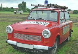 FIREMAN FIREFIGHTER FIRE DEPARTMENT * TRABANT CAR * GERMANY GERMAN DEMOCRATIC REPUBLIC GDR DDR * Top Card 5000 * Hungary - Firemen